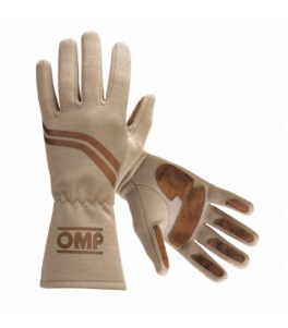 Gants OMP Dijon homologués FIA Crème/Brun